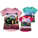 Children girl T-Shirt tractor flowers 2-12 years
