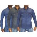 Großhandel Hemden & Blusen: Herren Jeans Freizeit Hemden Stretch Hemd ...