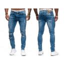 Fashionable Men's Denim Pants Vintage Destroye