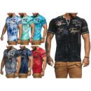 Großhandel Shirts & Tops: Herren Men Kurzarm  Used Motivdruck Bunt Bedruckt