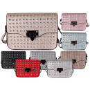 Ladies pockets glitter studs leather look evening