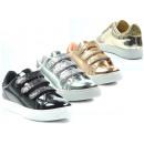 Ladies Trend Sneaker Glitter Metallic Look Velcro