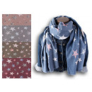 Women Winter Scarf Soft Warm Stars Colorful Wool