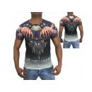 Hommes Hommes manches courtes T-shirts rond motif