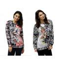 Ladies Longsleeve Pullover Sweatshirt POP ART