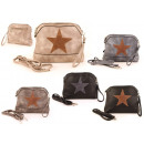 Women Bags Star Mix Canvas Fabric Leather Clutch