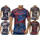 Großhandel Shirts & Tops: Herren Men Kurzarm T-Shirt Rundhals Motivdruck Mix