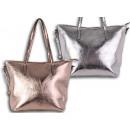 Damen Holo Taschen Silber Rosegold Glanz Metallic