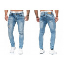 grossiste Vetements en jean: jeans hommes à la mode Vintage détruit regard