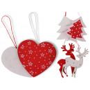 Pendant heart deer fir-tree window decoration