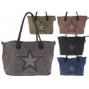 Women's bags glitter studs star canvas shopper