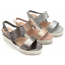 Ladies Woman Summer Trend Sandals Metallic Look