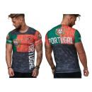 Herren Men T-Shirt Fan Länder Shirt Portugal Kurz