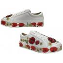 Women's trend sneaker flowers stones lace up s