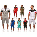 Men's trend stripe jogging suit sports suit