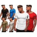 T-Shirt Uni Homme Tendance Uni Zipper