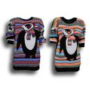 Ladies Woman Christmas Knit Sweater Penguin