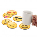 groothandel Tafellinnen:Emoji Coaster Set van 6