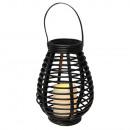 Rattan Laterne mit flackernder LED Kerze, Tisch-/G