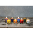 CHAKRA candle, approx. 6 cm, mix carton 8 pieces /