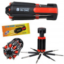 Multi-function screwdriver with LED flash 8-in-1