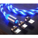 Magnetic USB cable 3W1 flowing led glowing