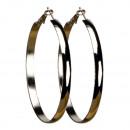 groothandel Oorbellen: Hoop oorbellen, 60mm, zilver