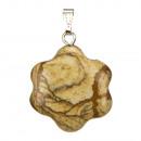 Hanger natuurlijke stenen bloem, 20mm, Bilderjaspi