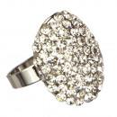 Mode-ring met stenen, zilver