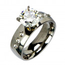 Großhandel Ringe: Edelstahlring mit Steinen, Silber