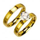 Roestvrij ringset / partner ringen met stenen, gou
