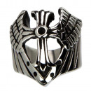 Biker stainless steel ring, cross, size 20
