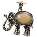 Trailer nadruk olifant, agaat, 45x40mm
