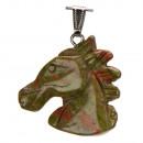 ingrosso Pendenti: testa di cavallo  rimorchi, 40x37mm, Unakite