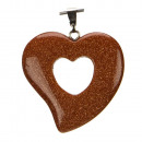 Heart hanger, 31x30mm, Gold River