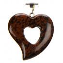 Heart hanger, 31x30mm, Mahogany Obsidian