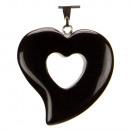 Heart hanger, 31x30mm, Zwarte Agaat