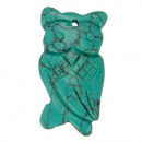 Hanger uil 44x22mm, synth. Turquoise