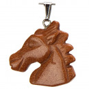 wholesale Jewelry & Watches: Trailers horse  head, 40x37mm, Gold River