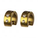 Roestvrij staal oorbellen Hoops met stenen, 14x6mm