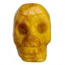Gegraveerde schedel, 36mm, Geel Jade