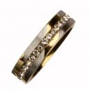 groothandel Sieraden & horloges: Roestvrij stalen  ring met stenen, tweekleurig, 6mm