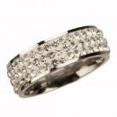 Großhandel Ringe: Edelstahlring mit Steinen, Silver, 8mm