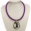 ingrosso Gioielli & Orologi: catena nastro di  tessuto con il pendente viola ova