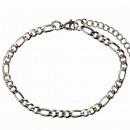 Figarokette stainless steel, 4,5mm, 20 + 5cm