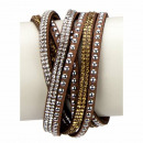 wholesale Artificial Flowers: Wrap bracelet PU, 40cm, brown