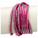 wholesale Artificial Flowers: Wrap bracelet PU, 40cm, pink