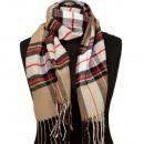 Modieuze sjaal, 165x30cm, zwart, rood en zand-Whit
