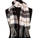 Modieuze sjaal, 165x30cm, zwart en wit bruin rood