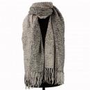 Fluffy scarf, 195x70cm, gray-black